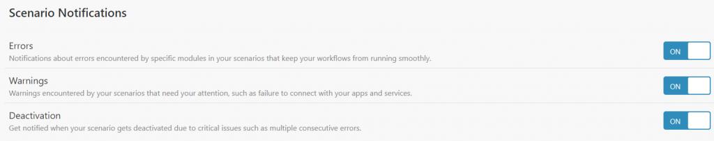 integromat notifications d'erreurs