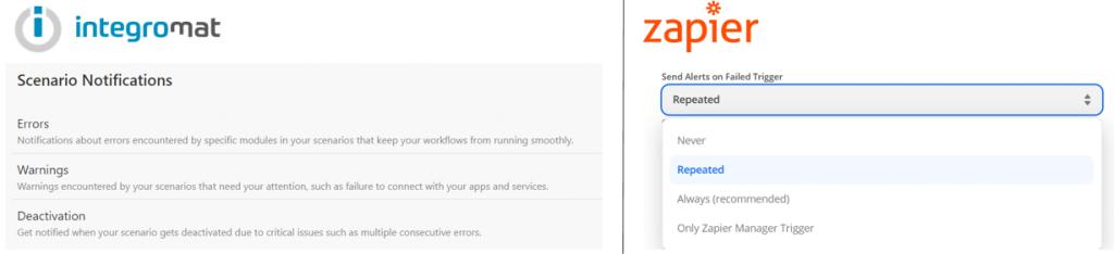 notifications entre integromat et zapier